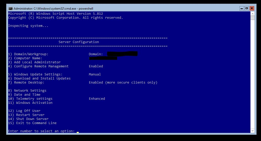 Windows Core SConfig